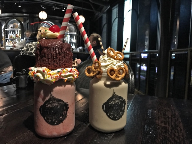 red velvet and salted dulce de leche milk shakes from the toothsome chocolate emporium and savoury feast kitchen - Universal Orlando's Best Theme Park Foods