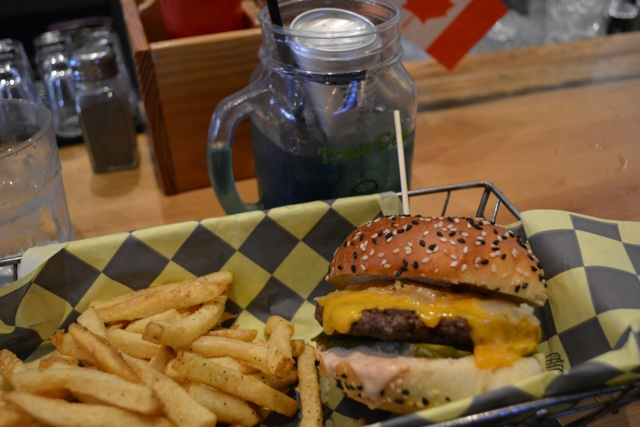 trashcan drink and build your own burger and fries from the Eddie Burger Bar - Best Tips for Visiting Banff, Alberta in one day