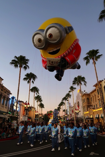minion bob balloon chases his teddy bear stocking float in the universal macys holiday parade - Best Tips for Celebrating the Holidays at Universal Orlando