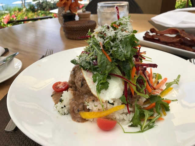fancy loco moco traditional hawaiian meal at restaurant one forty - Four Seasons Resort Lanai in Hawaii Review