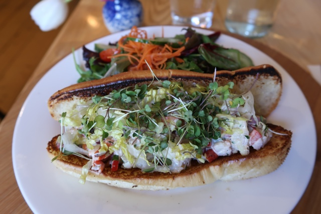 Mateus bistro lobster roll from Mahone Bay Nova Scotia with micro greens