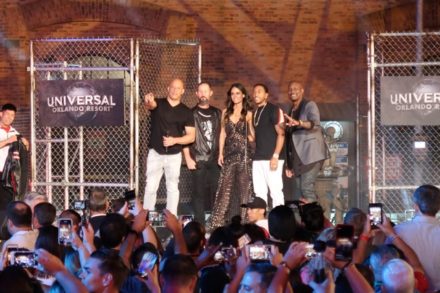 Vin Diesel Jordana Brewster Ludacris and Tyrese Gibson at the grand opening of the universal orlando fast and furious supercharged ride