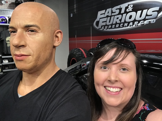 Vin Diesel selfie in the gift shop at the fast and furious supercharged ride