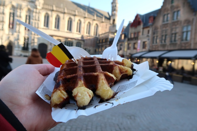 a leige waffle in bruges burg square from the Arlecchino Gelateria waffle truck