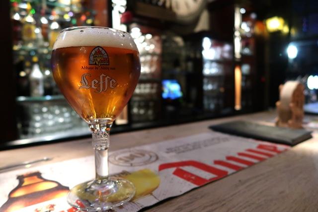 belgian beer at the bar at St Christopher's Inn Hostel at the Bauhaus