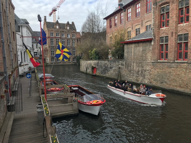 bruges canal boat tours loading and boarding dock