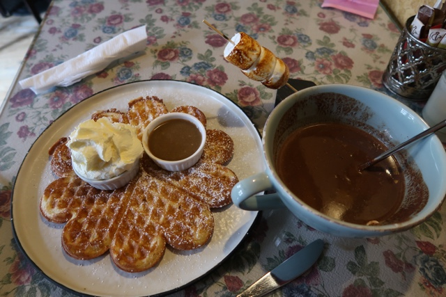 hot chocolate roasted marshmallows and waffles at the old chocolate house in Bruges Belgium