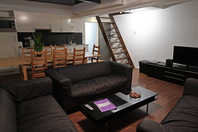 the common room at kitchen in semi private apartment 4 at the St Christopher's Inn Hostel at the Bauhaus