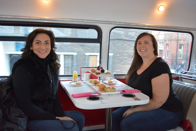 afternoon tea with bb bakery on a double decker bus in London - London in a Minute travel video