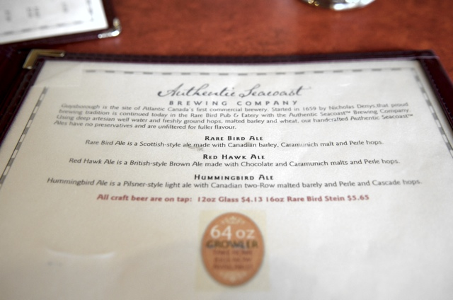 Rare Bird Pub Ale Menu