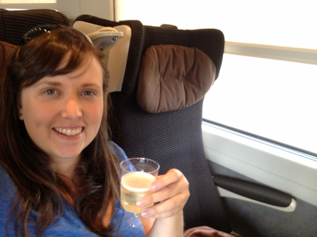 champagne on the train