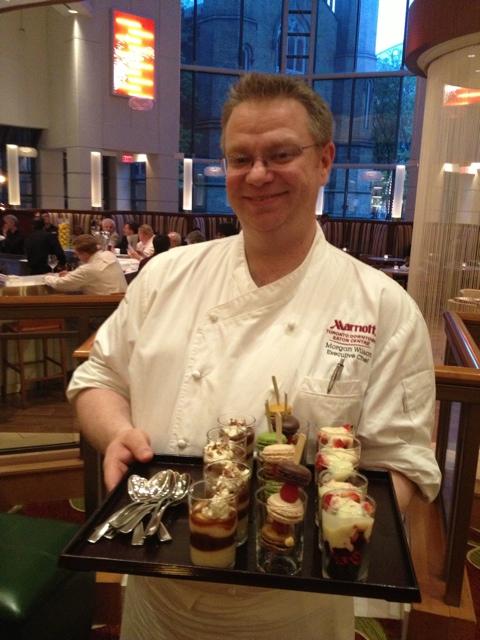 Chef Morgan and desserts, Trios Bistro