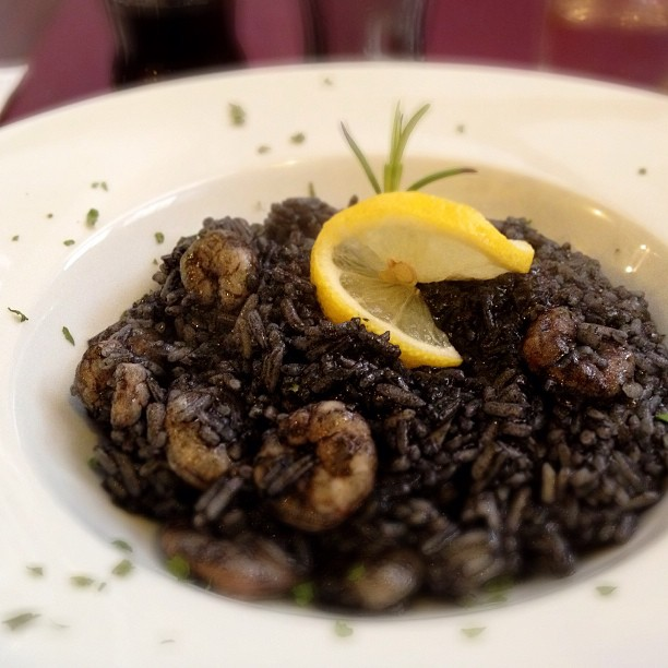 Risotto Orlando - black risotto with prawns and Dalmation spices in Dubrovnik