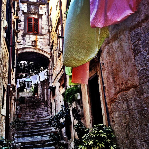 An alleyway in the Old Town of Dubrovnik, Croatia