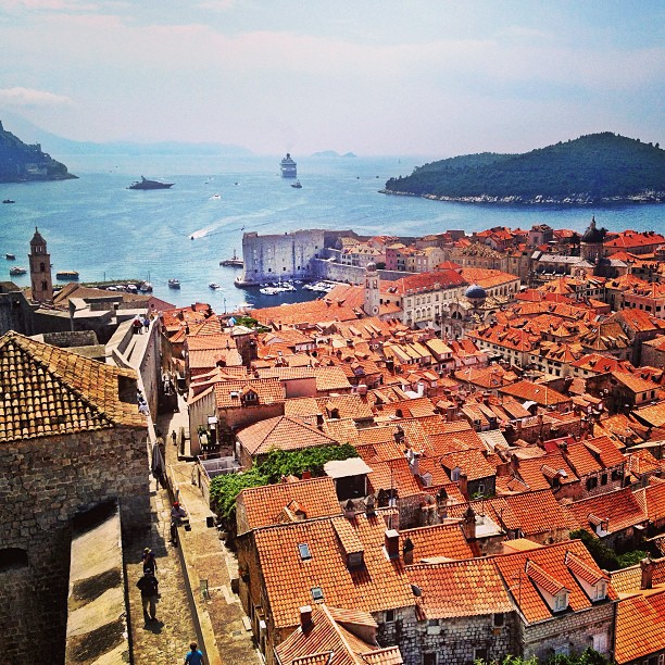 A view of Old Town Dubrovnik from the city walls.
