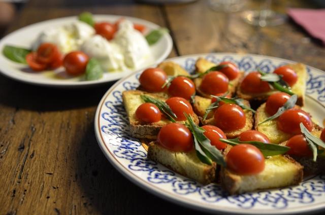 Fresh Italian made bruschetta in Brindisi, Italy