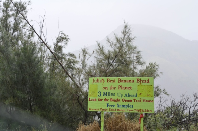 Sign for Julia's Best Banana Bread on the Planet in Maui