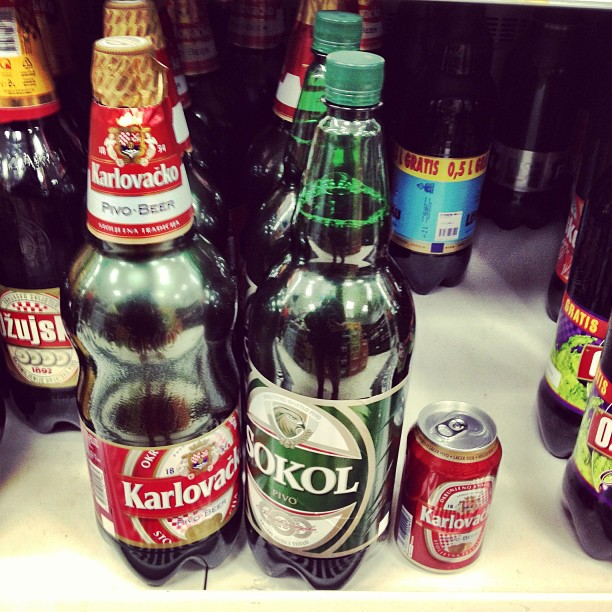 Sokol and Karlovack beer in Croatia