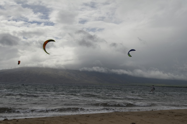 Windsurfers at Kalepolepo Beach in Kihei, Maui