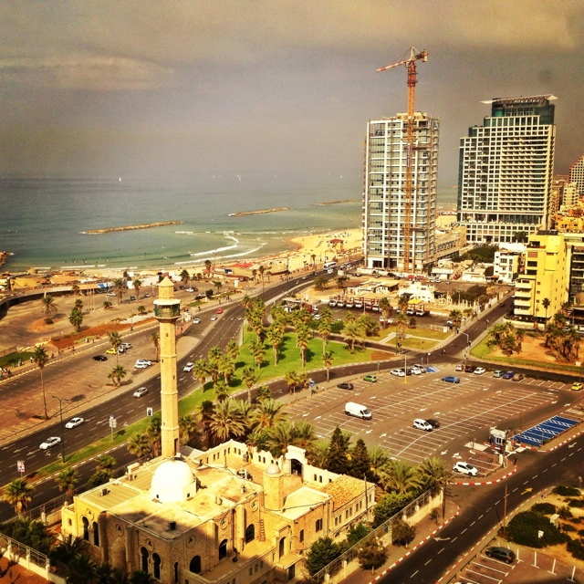 Aerial view of the Tel Aviv, Israel waterfront