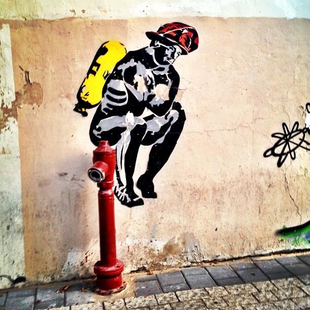Fireman Graffiti in Tel Aviv, Israel
