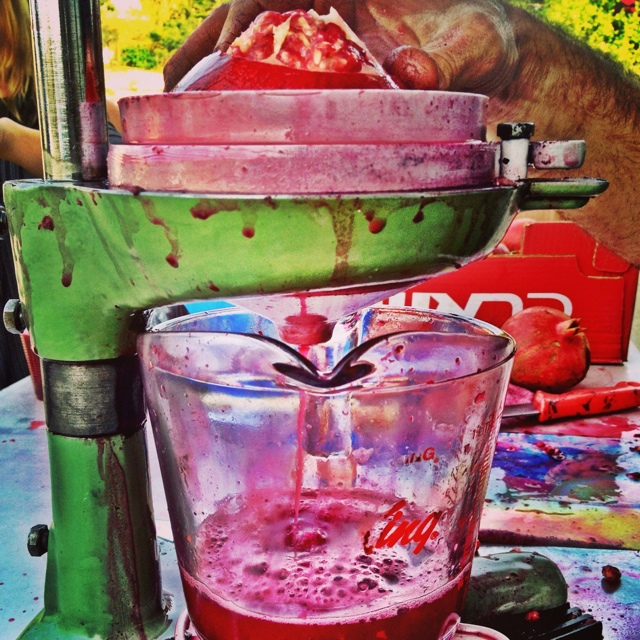 Fresh pressed pomegranate juice in Israel