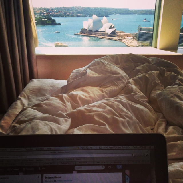 View from bed at the Shangri-La in Sydney