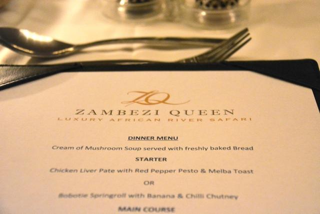 the zambezi queen dinner menu - staying aboard the zambezi queen houseboat