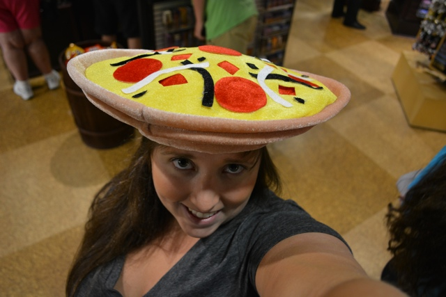 cailin wearing a pizza hat - Chicago Pizza Tours aka 3ish Hours of Heaven