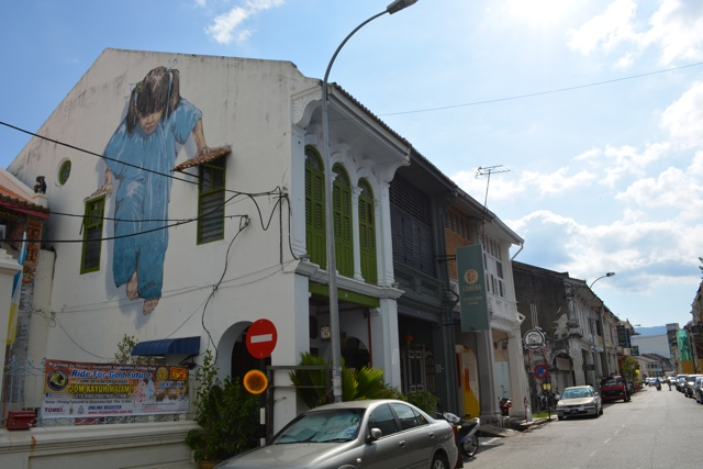 kungfu girl muntri street little girl in blue 2 - The Street Art of George Town, Penang, Malaysia