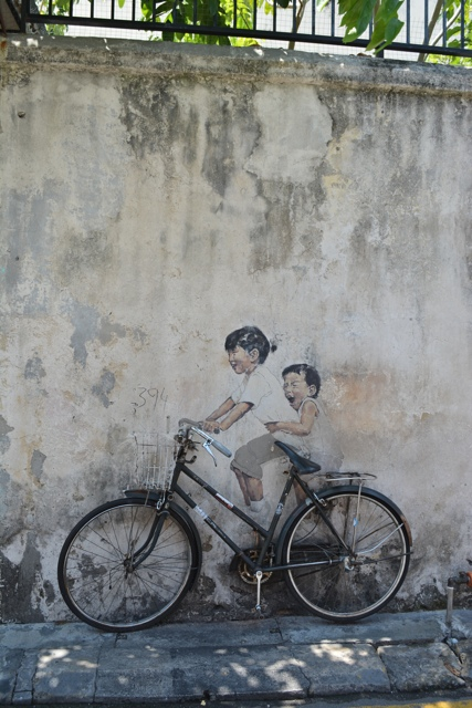 little children on a bicycle 2 - The Street Art of George Town, Penang, Malaysia