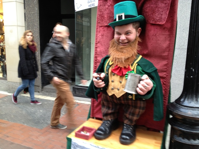 Visiting Ireland for st Patricks day turn yourself into a leprechaun on Grafton street - Tips for Celebrating St. Patrick's Day in Dublin, Ireland