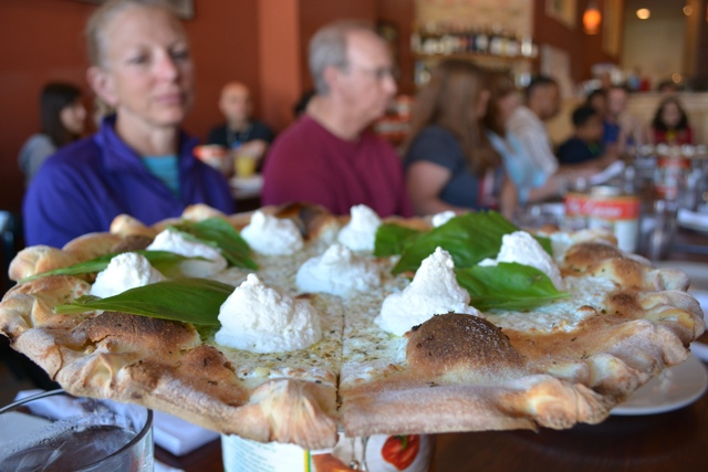 white pizza with whipped ricotta at coal fire pizza - Chicago Pizza Tours aka 3ish Hours of Heaven