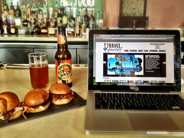 Working on TravelYourself.ca from my laptop in Florida
