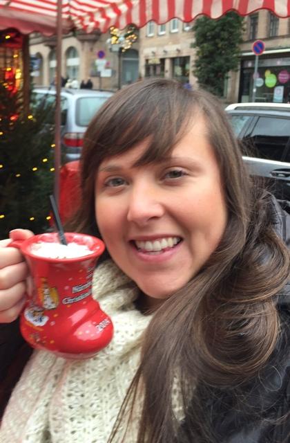 drinking Eierpunsch eggnog in Nuremberg, Germany - Best Tips for Visiting European Christmas Markets