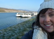 Cailin and the Viking Delling longship in Melk, Austria - A Viking River Cruise on the Danube Through Europe