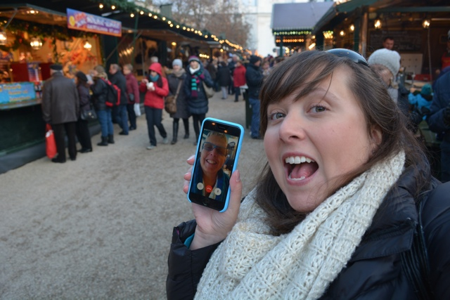 Facetime with my mom in the Passau, Germany Christmas Market - A Viking River Cruise on the Danube Through Europe