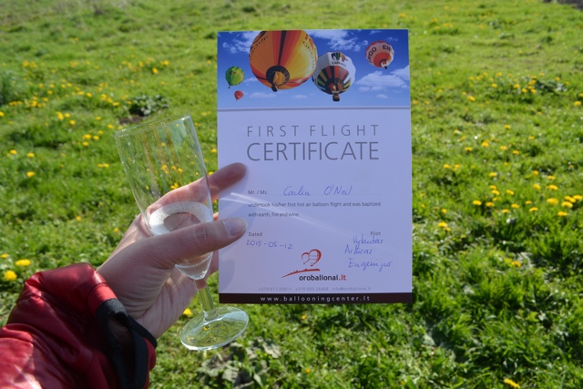 celebrate hot air balloon ride with champagne and first flight certificate - Hot Air Ballooning For the First Time