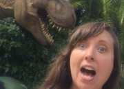 t-rex attacking Cailin Jurrasic Park River Adventure - Universal Orlando Resort VIP Tour Highlights