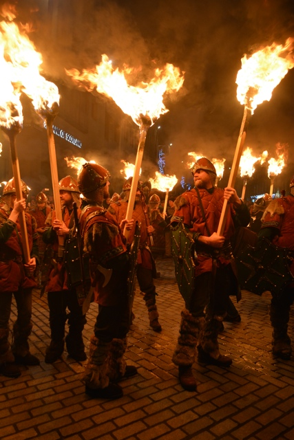 Shetland Vikings Carry torches during the torchlight procession - Hogmanay New Years Eve Celebrations in Edinburgh, Scotland