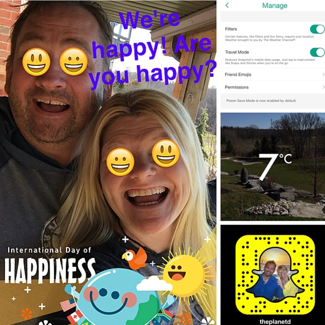 Dave and Deb of theplanetd.com on snapchat - Travel Bloggers Best Tips for Using Snapchat