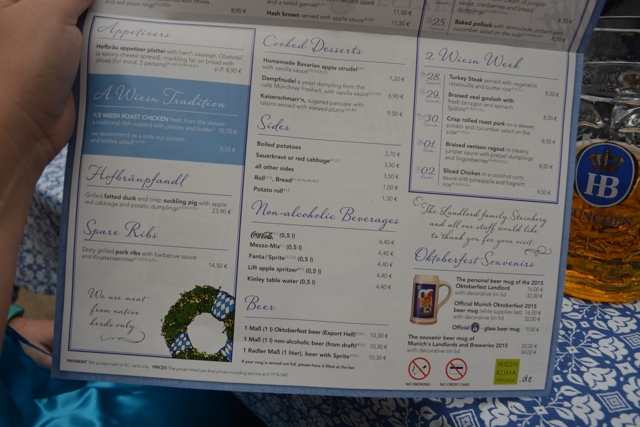 menu of food and drinks at the hofbrauhaus at oktoberfest - Best Tips for Celebrating Oktoberfest in Munich