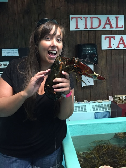 cailin petting a lobster at the tidal touch tank in the fisheries museum of the atlantic - Lunenburg, Nova Scotia Best Things to See and Do