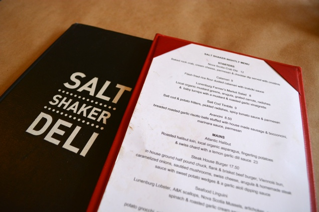 the menu at the salt shaker deli in Lunenburg - Lunenburg, Nova Scotia Best Things to See and Do
