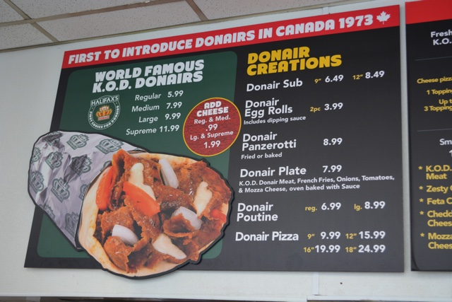 king of donair menu donair pizza panzerotti poutine plate eggrolls - What is the Halifax donair?