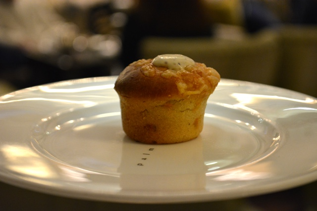 Isle of Mull cheddar muffin with creme fraiche - Afternoon Tea at the Balmoral Hotel in Edinburgh