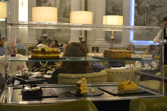 dessert and cake cart trolley - Afternoon Tea at the Balmoral hotel in Edinburgh, Scotland