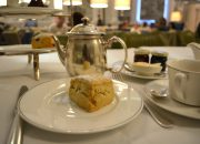 plain and raisin scones with clotted scream and jams - Afternoon Tea at the Balmoral Hotel in Edinburgh, Scotland