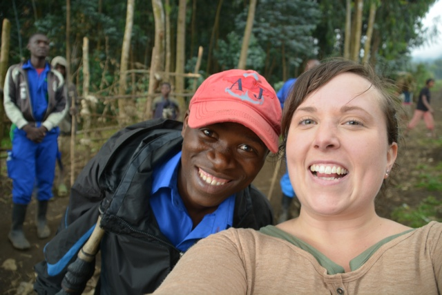 Jackson my Gorilla hiking porter at Mount Sabyinyo volcano - Trekking to see Wild Mountain Gorillas in Rwanda