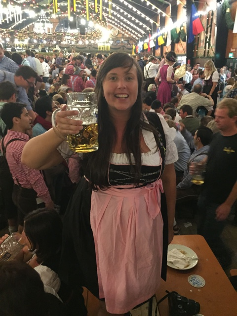 prost at oktoberfest! wearing my new dirndle traditional barvarian dress - Where to buy a dirndl dress and lederhosen pants for Oktoberfest in Munich